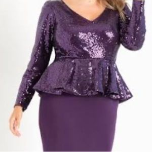 PURPLE SEQUIN PEPLUM DRESS NWT Size 18